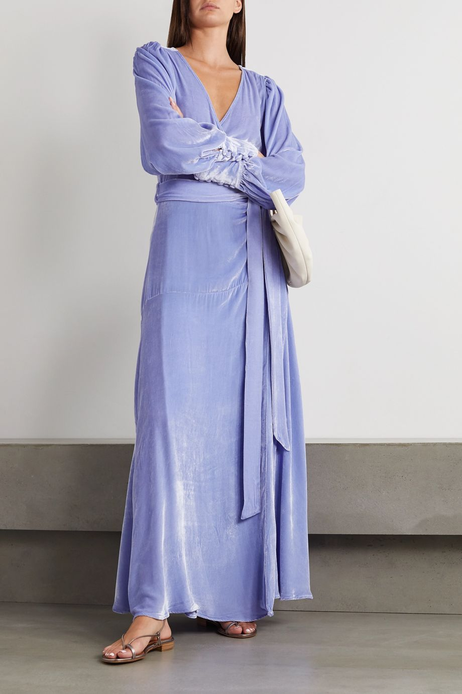 Sleeping with Jacques The Sylvia crushed-velvet wrap maxi dress