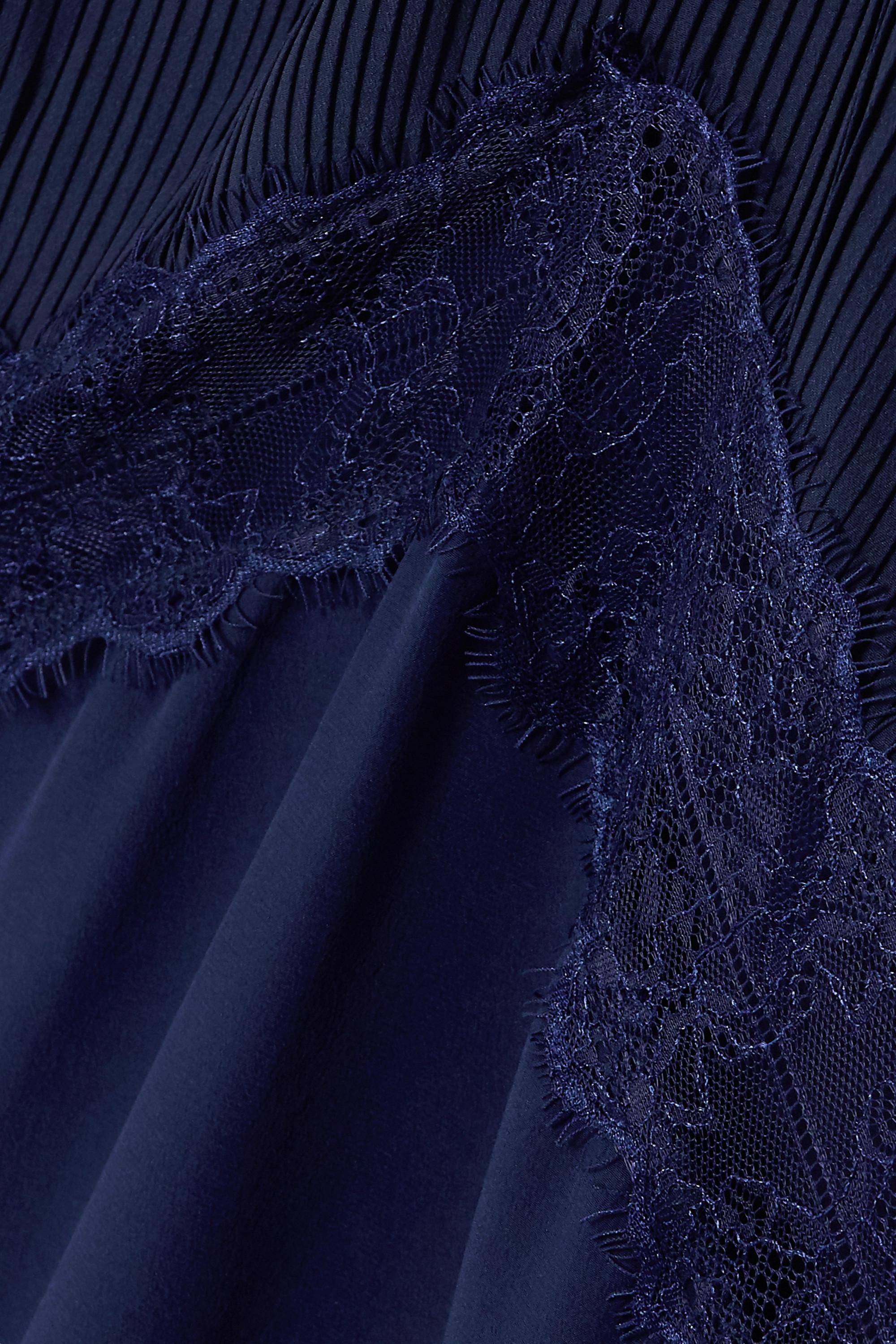 Sleeping with Jacques The Osiris 蕾丝边饰细褶真丝双绉超长连衣裙