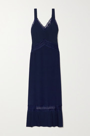 Sleeping with Jacques The Osiris lace-trimmed plissé-silk crepe de chine maxi dress