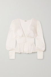 Sleeping with Jacques The Sylvia peplum silk-satin blouse