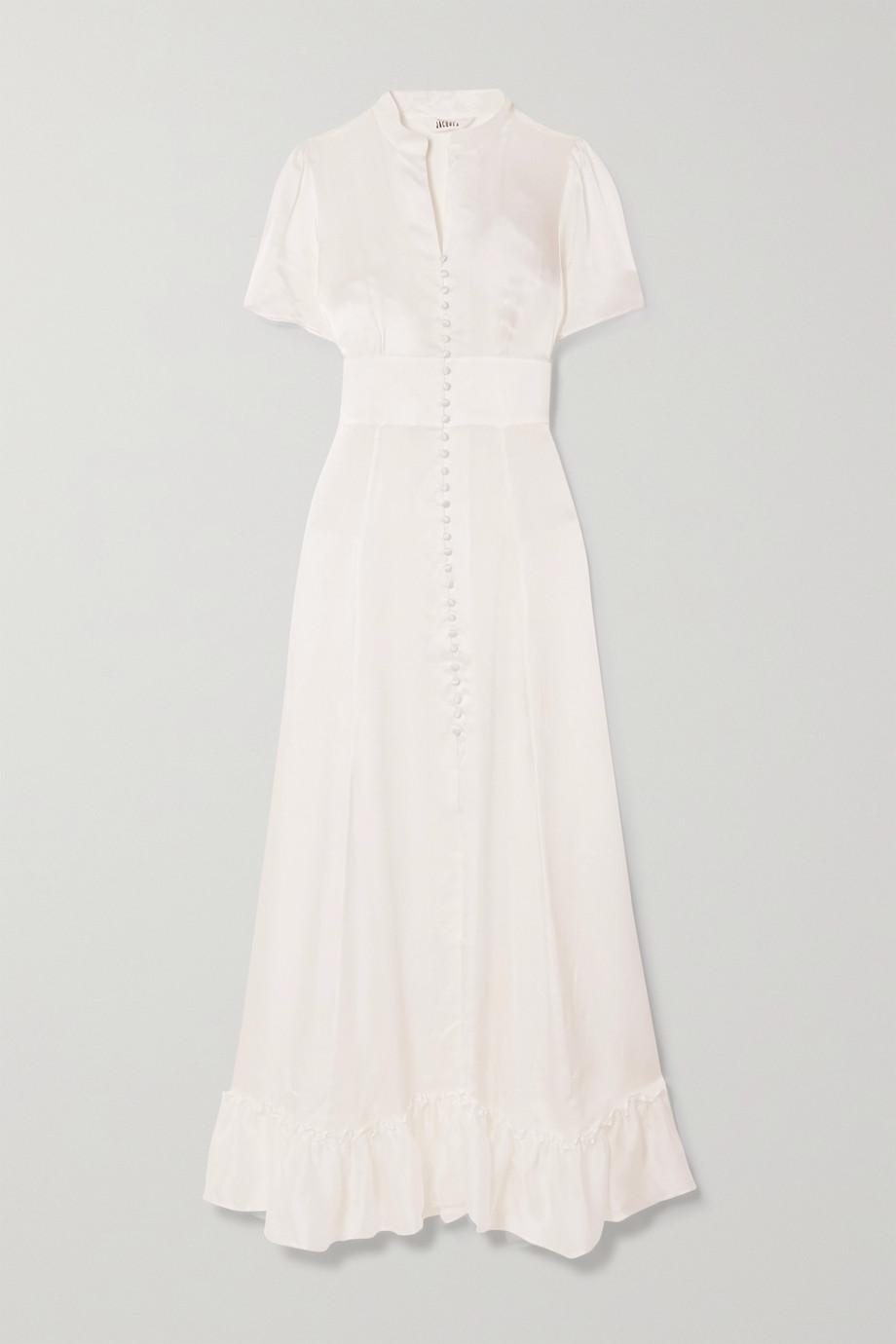 Sleeping with Jacques The Mandy ruffled silk-satin maxi dress