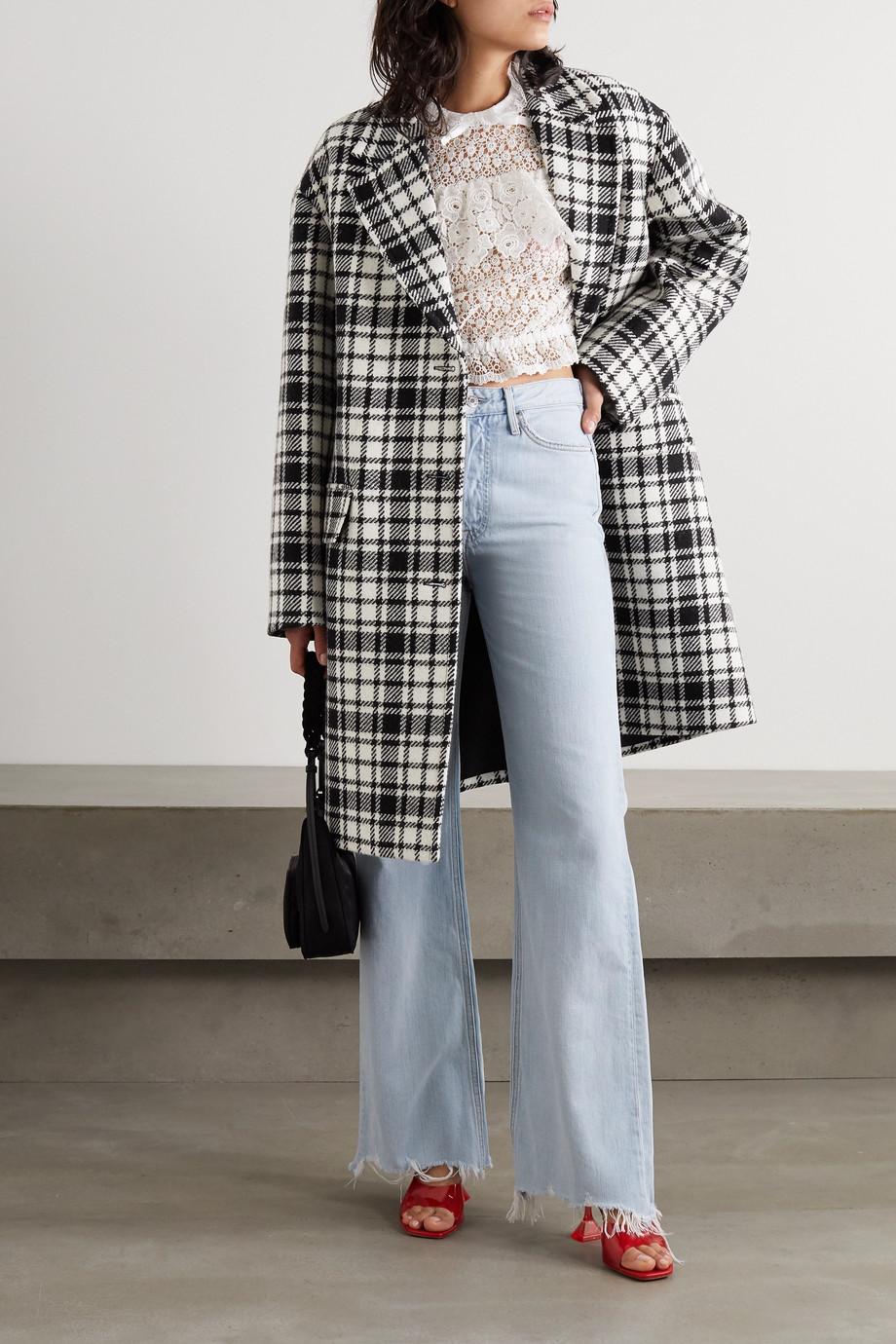 Miu Miu Karierter Mantel aus einer Wollmischung