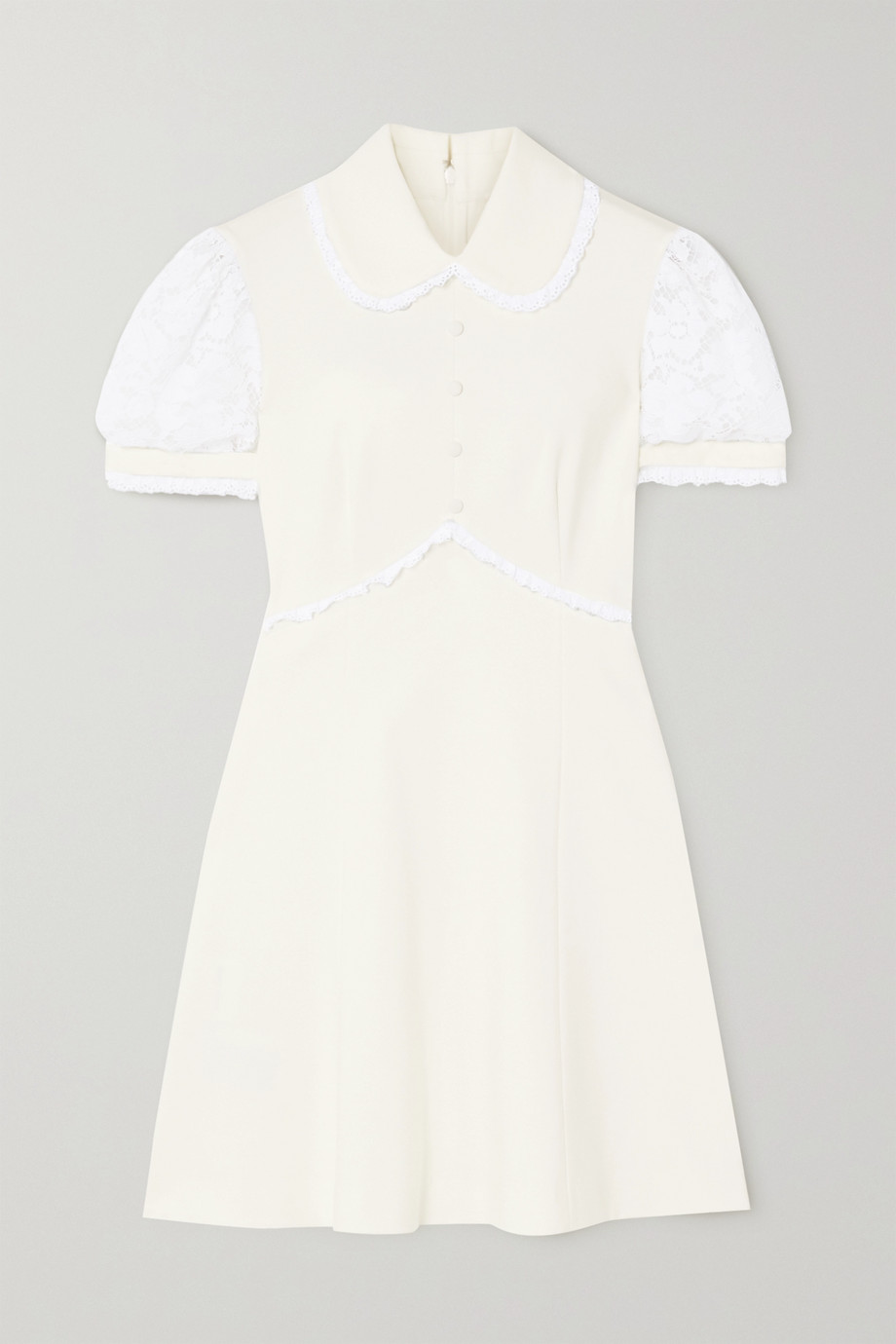 Miu Miu Cotton-blend lace-trimmed stretch-jersey mini dress