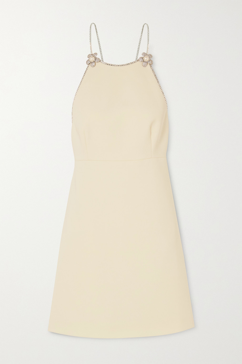 Miu Miu Crystal and pearl-embellished cady mini dress