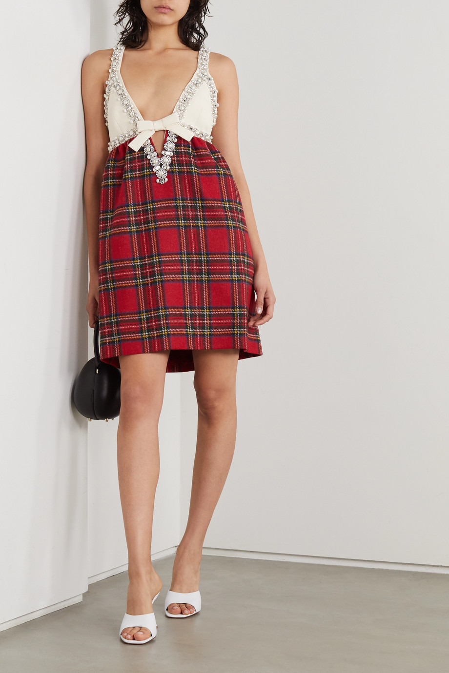 Miu Miu Embellished wool and silk-blend and checked wool mini dress