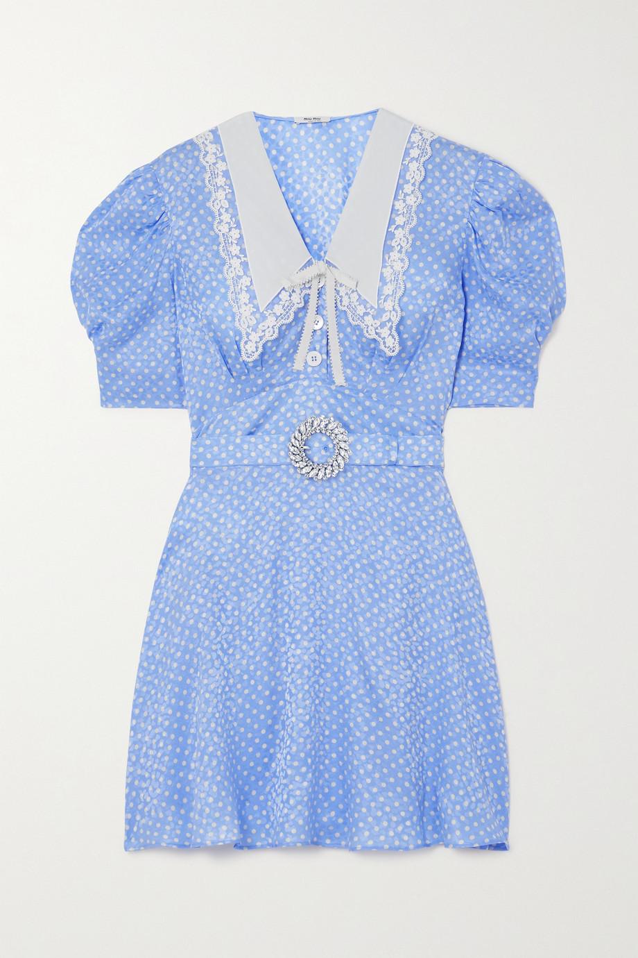 Miu Miu Mini-robe en jacquard de soie à pois et à cristaux
