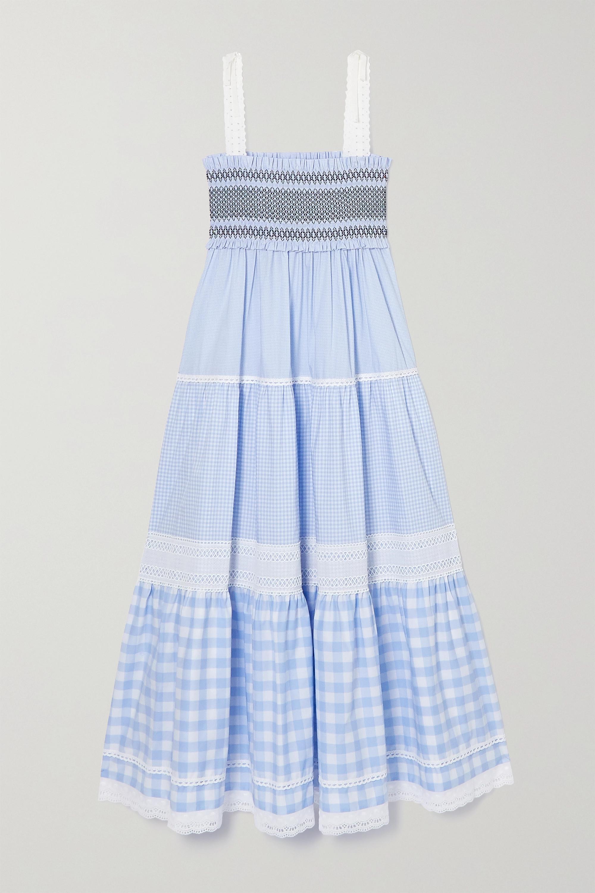 Miu Miu Robe longue en coton et en broderie anglaise à smocks et à carreaux vichy