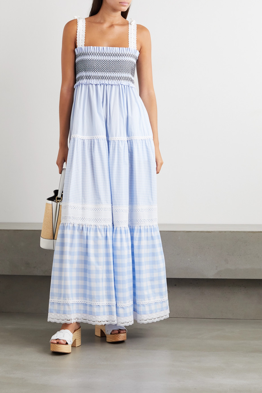 Miu Miu Broderie anglaise-trimmed shirred gingham cotton maxi dress