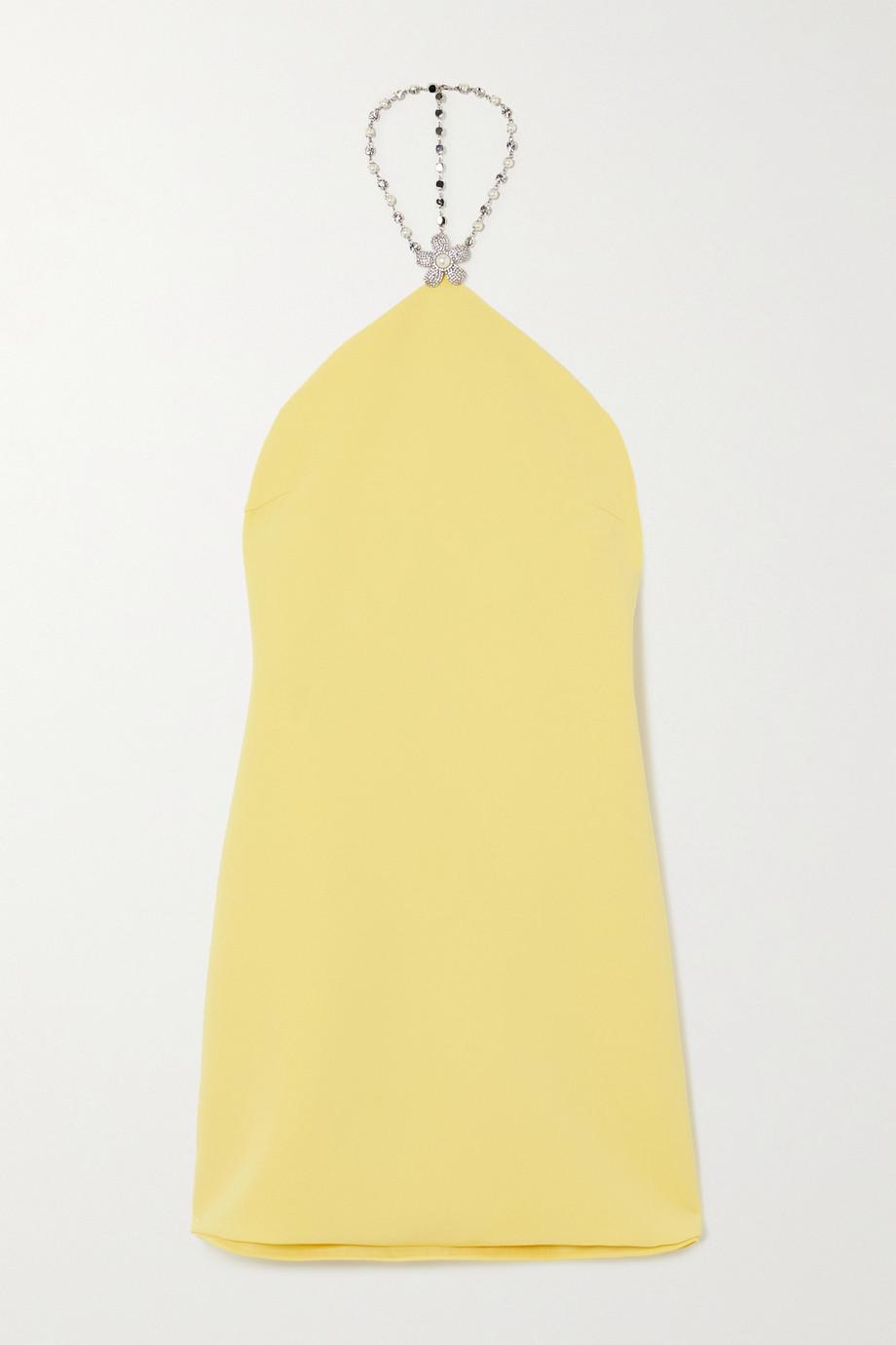 Miu Miu Minikleid aus Crêpe mit Neckholder und Verzierungen