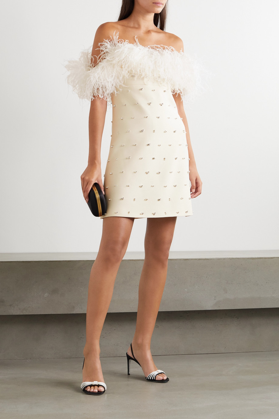 Miu Miu Schulterfreies Minikleid aus einer Woll-Seidenmischung mit Federn und Verzierungen