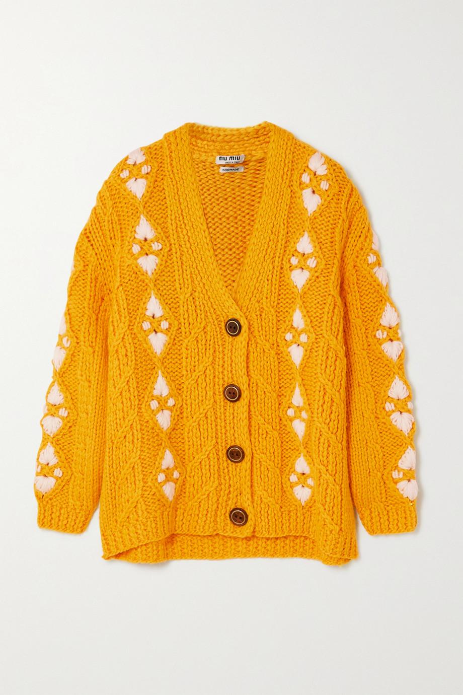 Miu Miu Cardigan aus Wolle mit Zopfstrickmuster und Stickereien