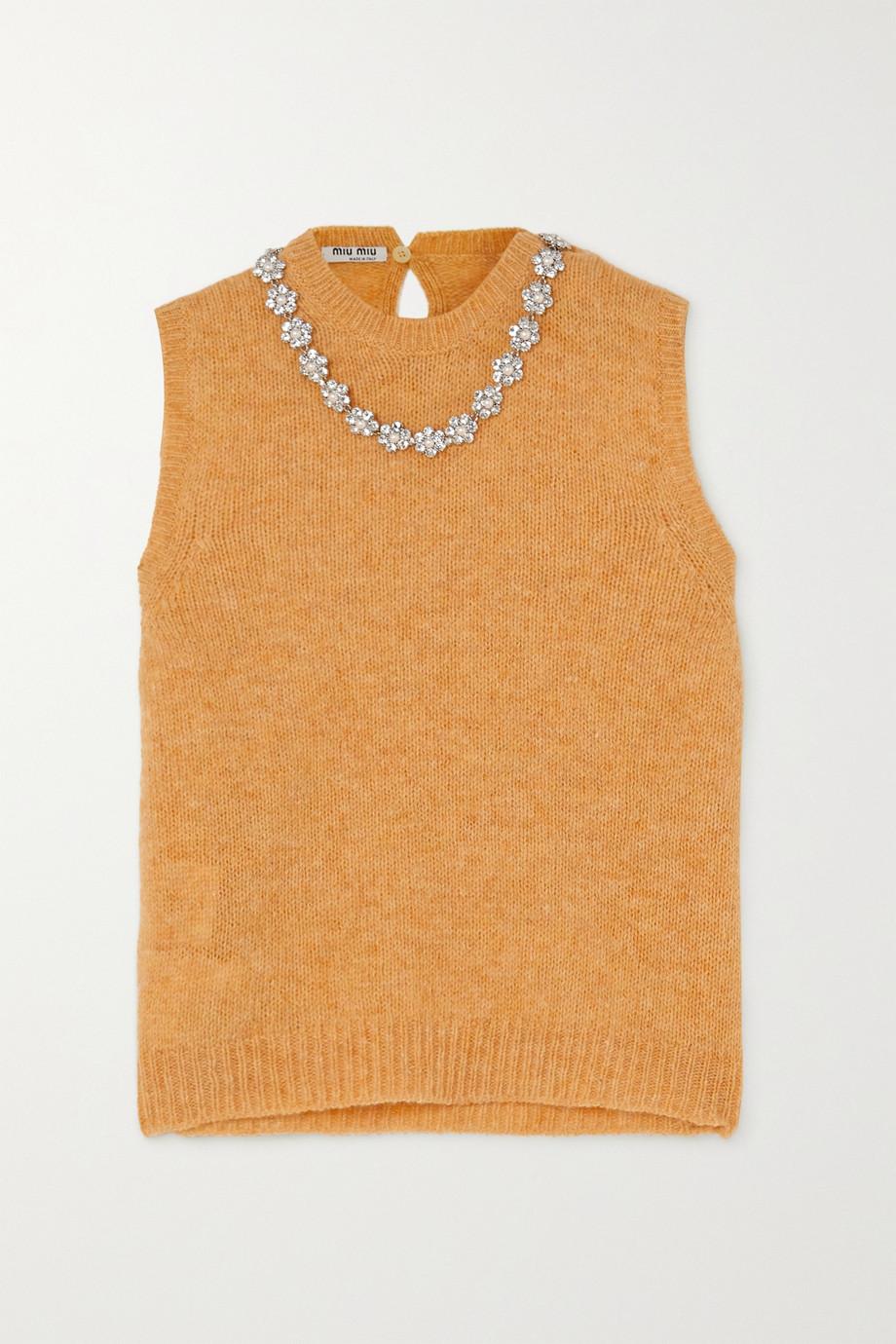 Miu Miu Crystal-embellished wool tank