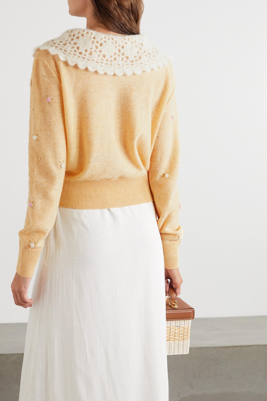 Miu Miu Wollpullover mit Verzierungen und Besätzen aus Häkelmaterial und Samt