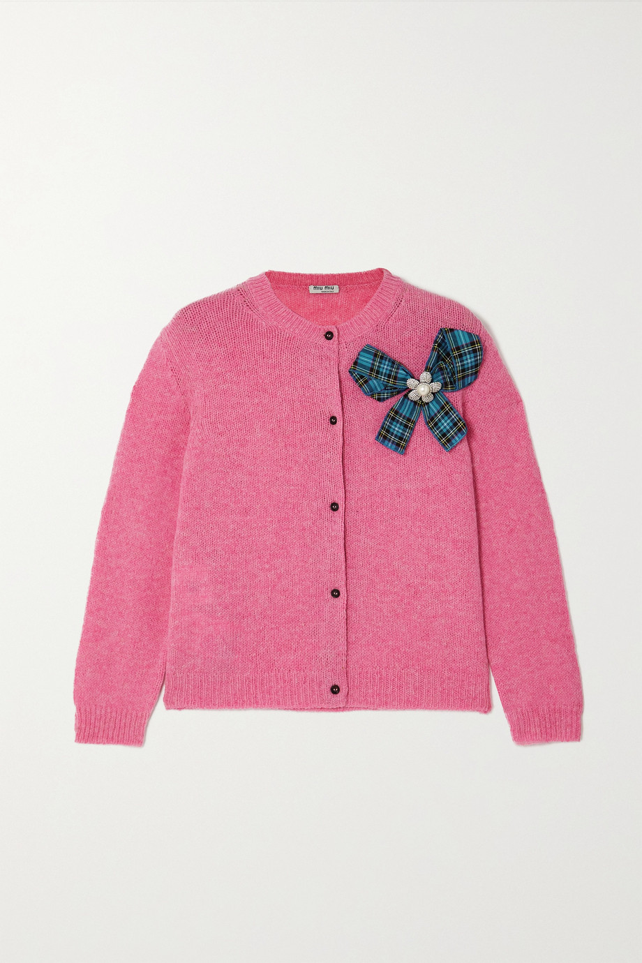 Miu Miu Bow-detailed embellished wool cardigan