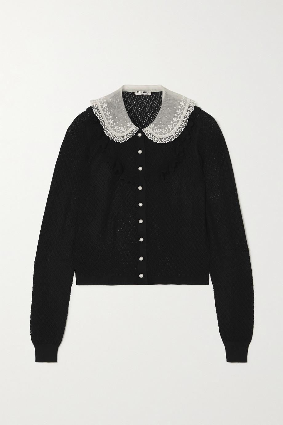 Miu Miu Crystal-embellished ruffled cashmere and silk-blend cardigan