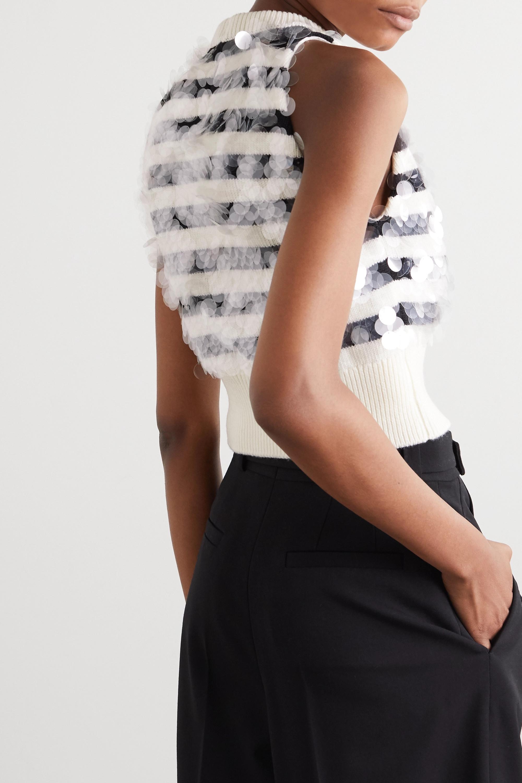 Miu Miu Ärmelloser Pullover aus gestreifter Wolle mit Pailletten