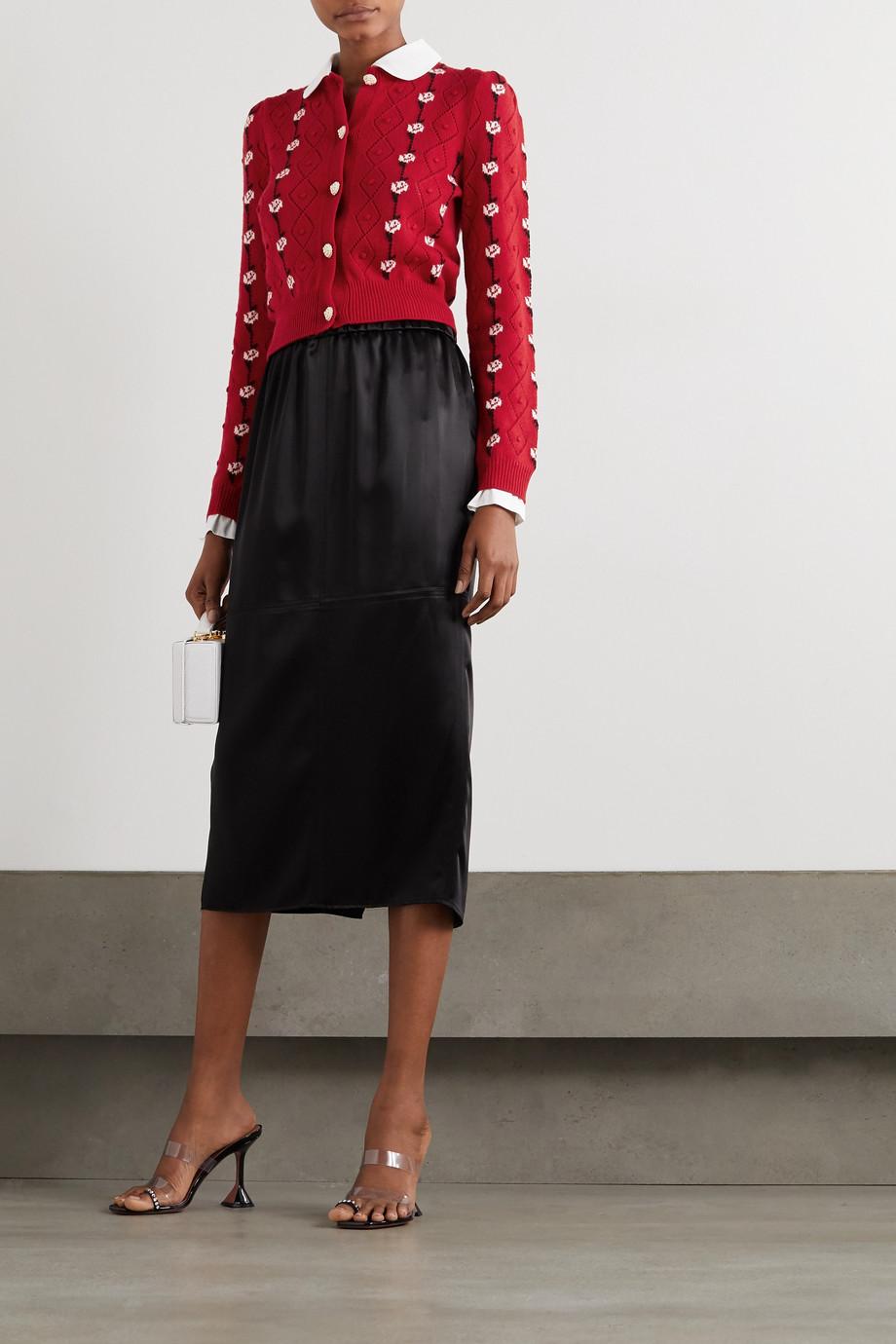 Miu Miu Cotton-trimmed cashmere-jacquard cardigan