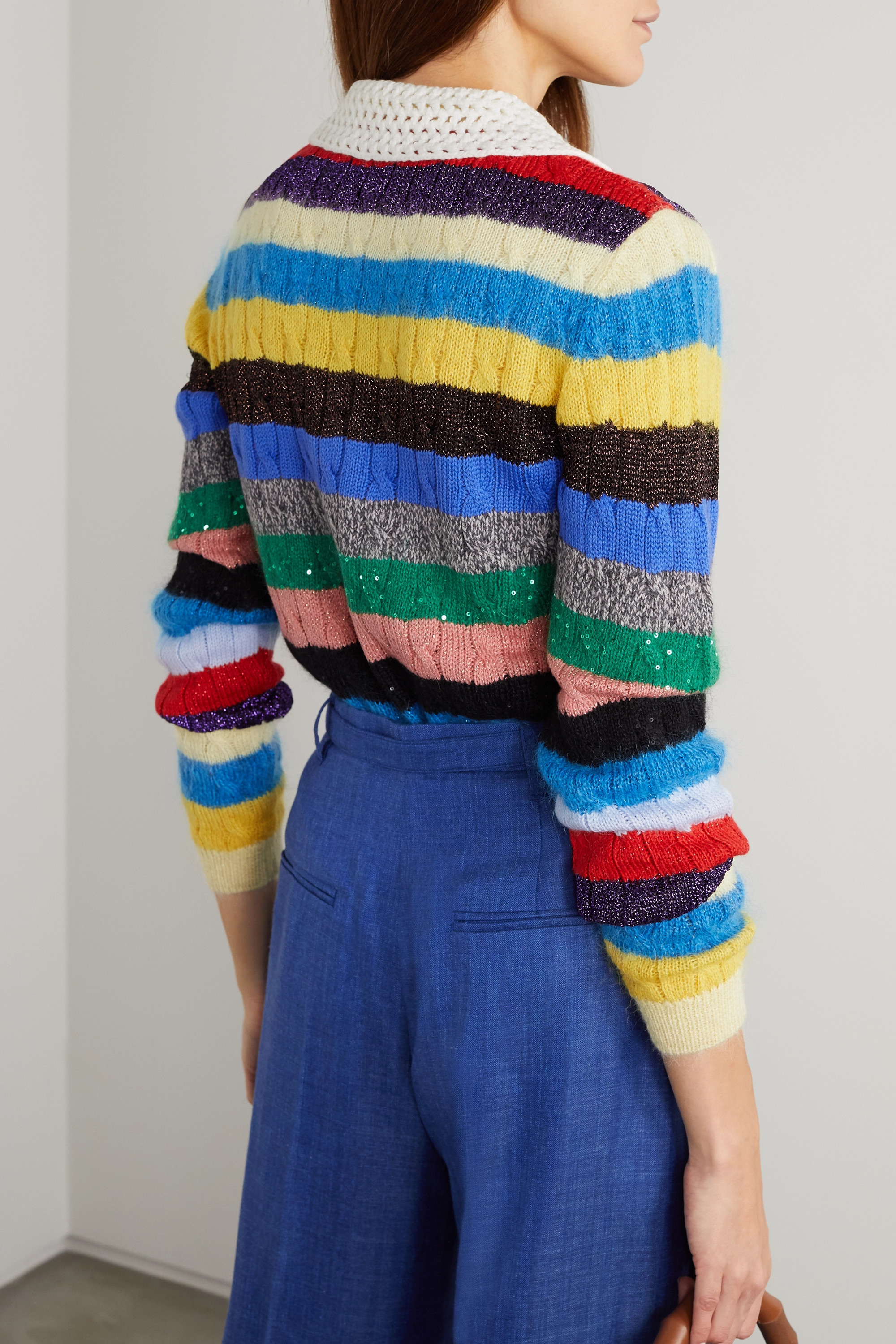 Miu Miu Crochet-trimmed sequined striped cable-knit cardigan