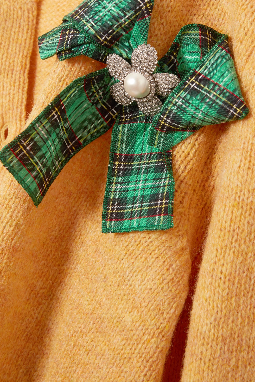 Miu Miu Bow-detailed embellished wool cardigan