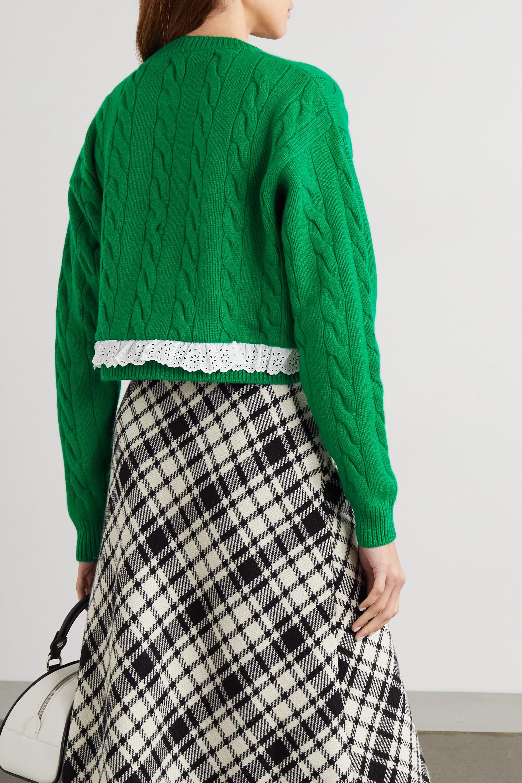 Miu Miu Verkürzter Pullover aus Kaschmir mit Zopfstrickmuster und Besatz mit Lochstickerei