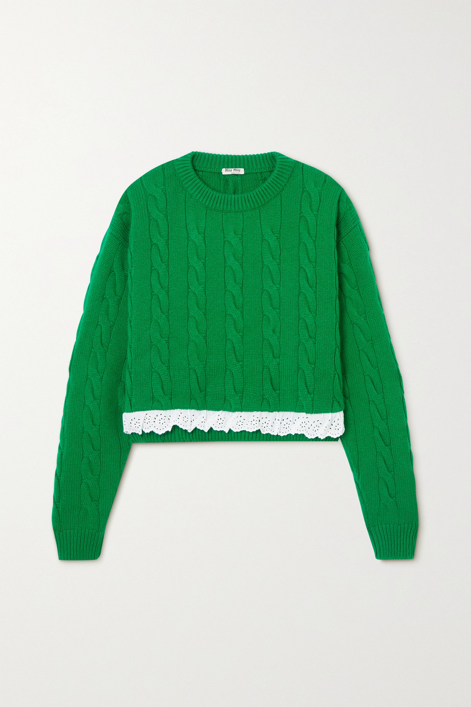 Miu Miu Cropped broderie anglaise-trimmed cable-knit cashmere sweater