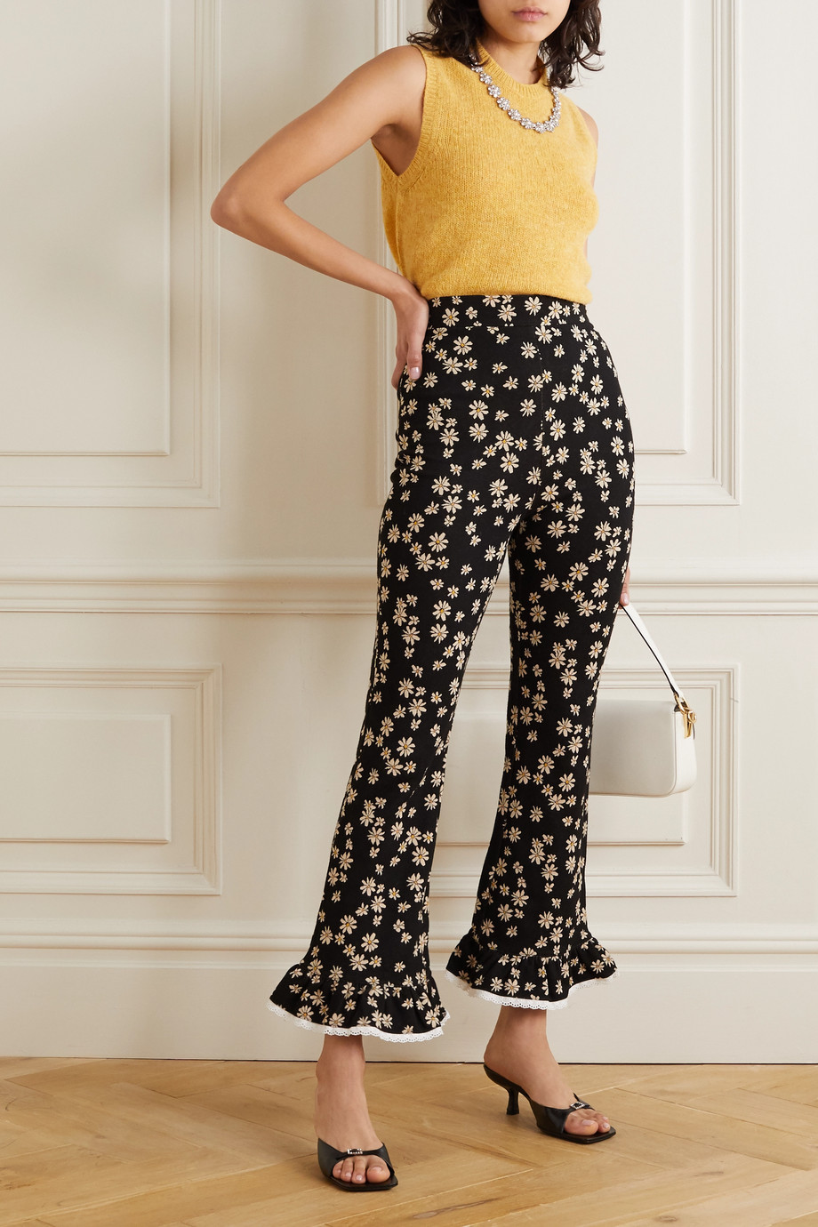 Miu Miu Lace-trimmed jacquard-knit flared pants