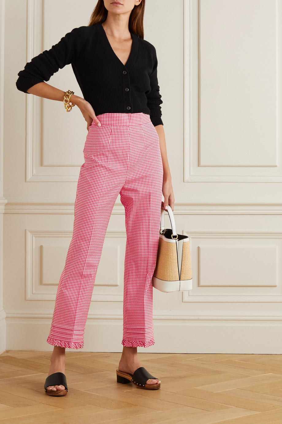 Miu Miu Cropped gingham cotton-blend straight-leg pants