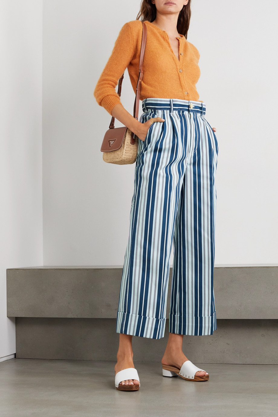 Miu Miu Cropped striped cotton-twill wide-leg pants