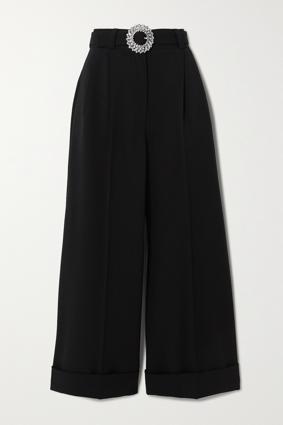 Miu Miu Crystal-embellished belted wool-blend wide-leg pants