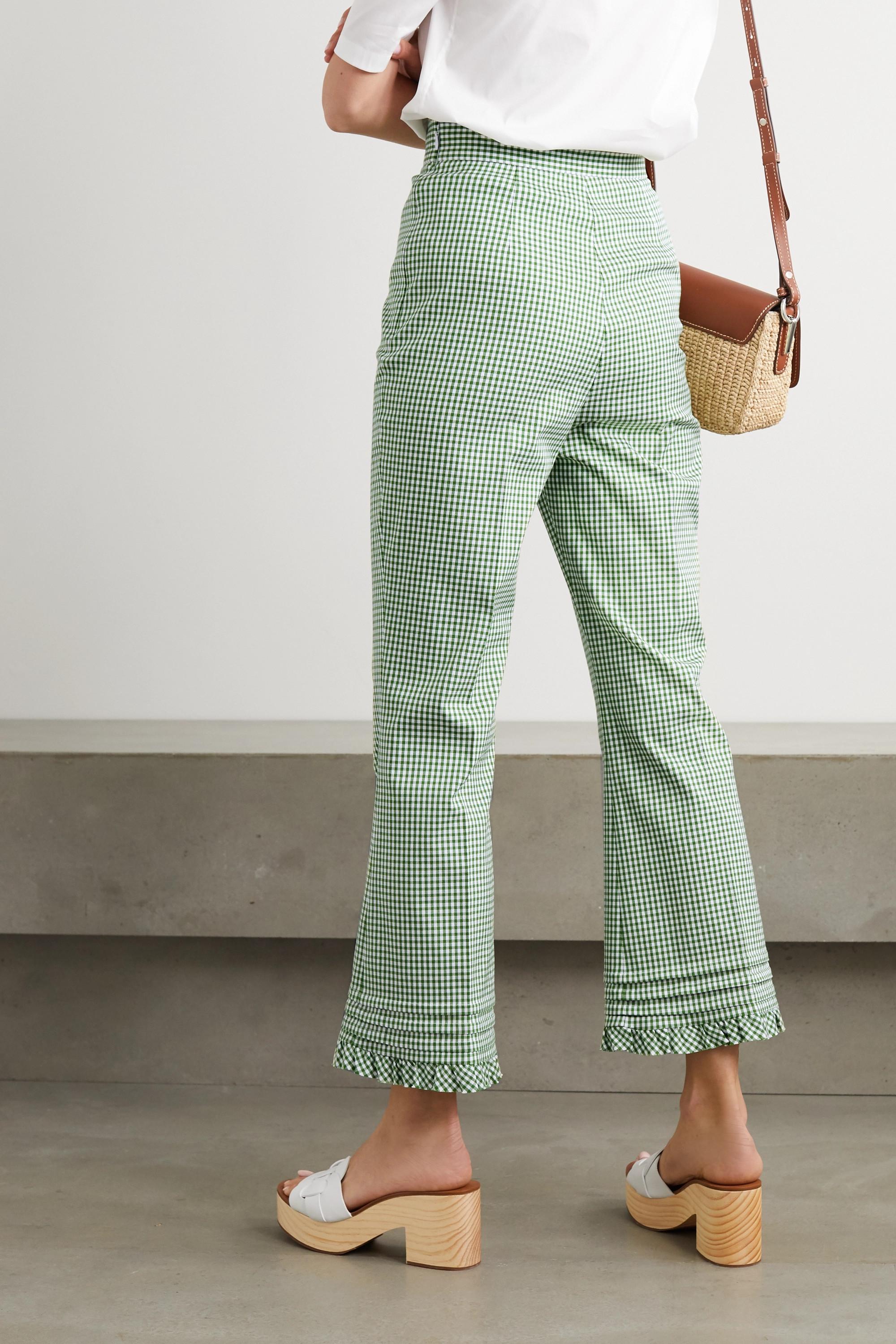 Miu Miu Ruffled gingham cotton-twill flared pants
