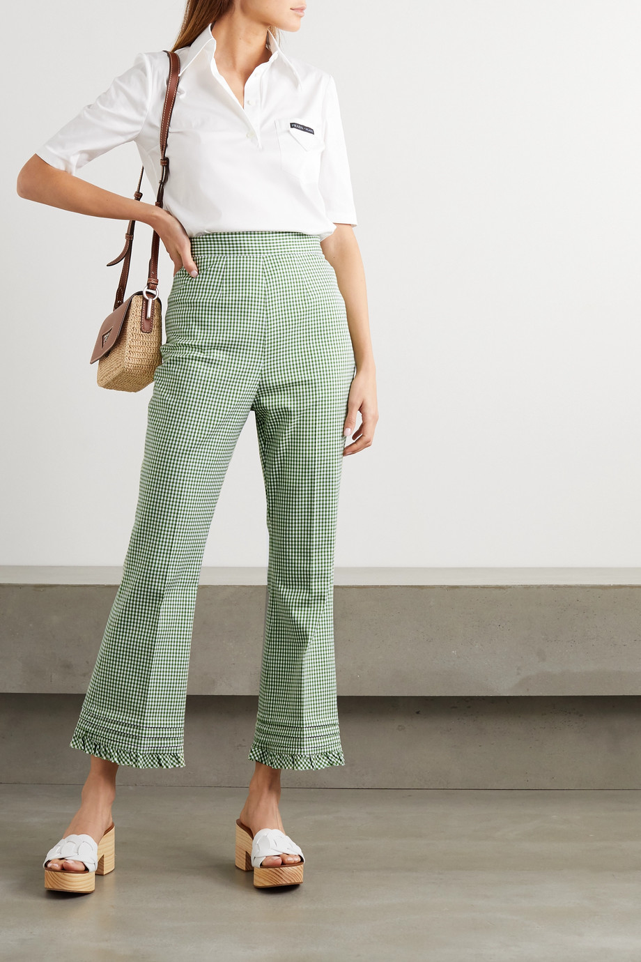 Miu Miu Ruffled gingham cotton-twill flared pants