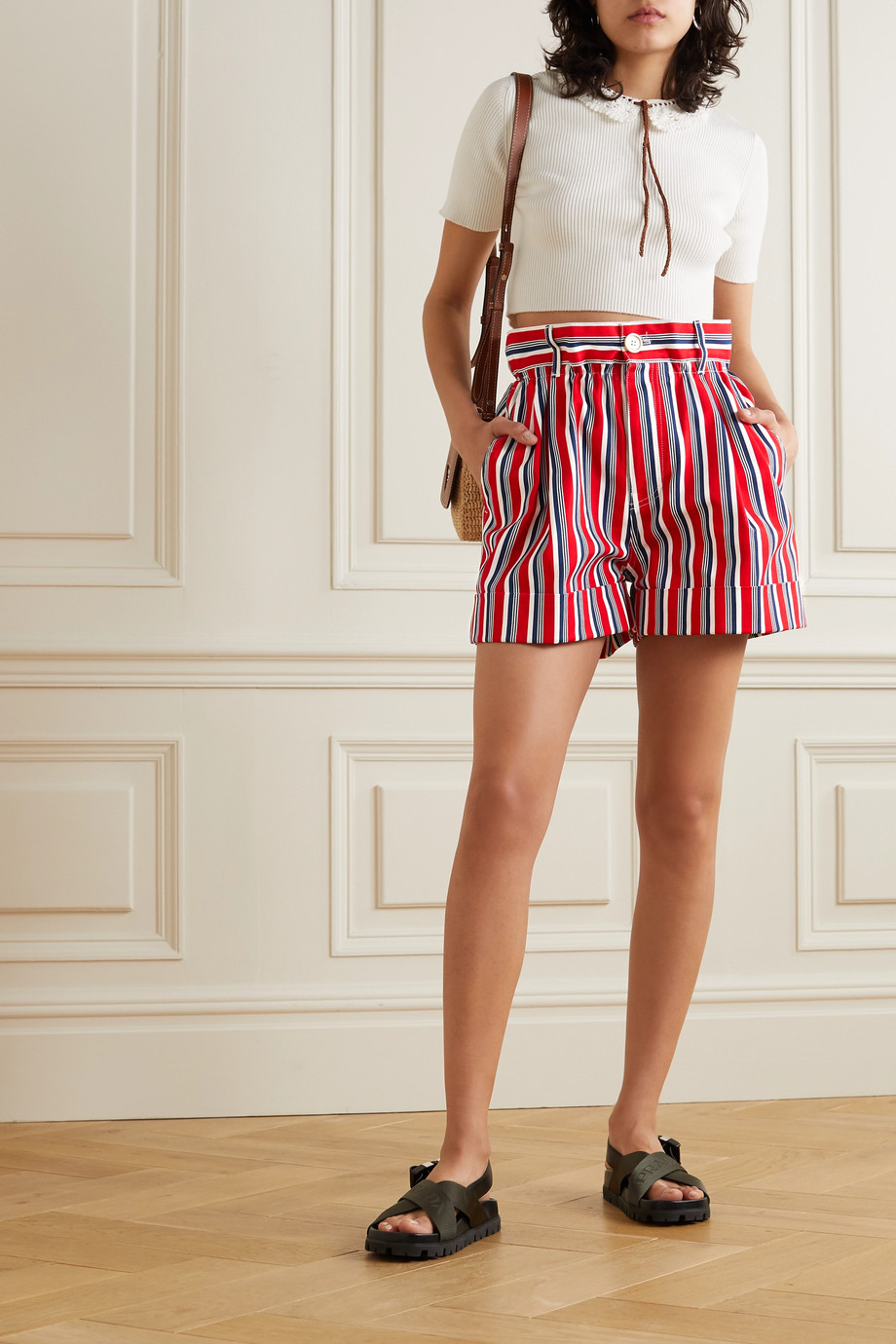 Miu Miu Striped cotton-twill shorts