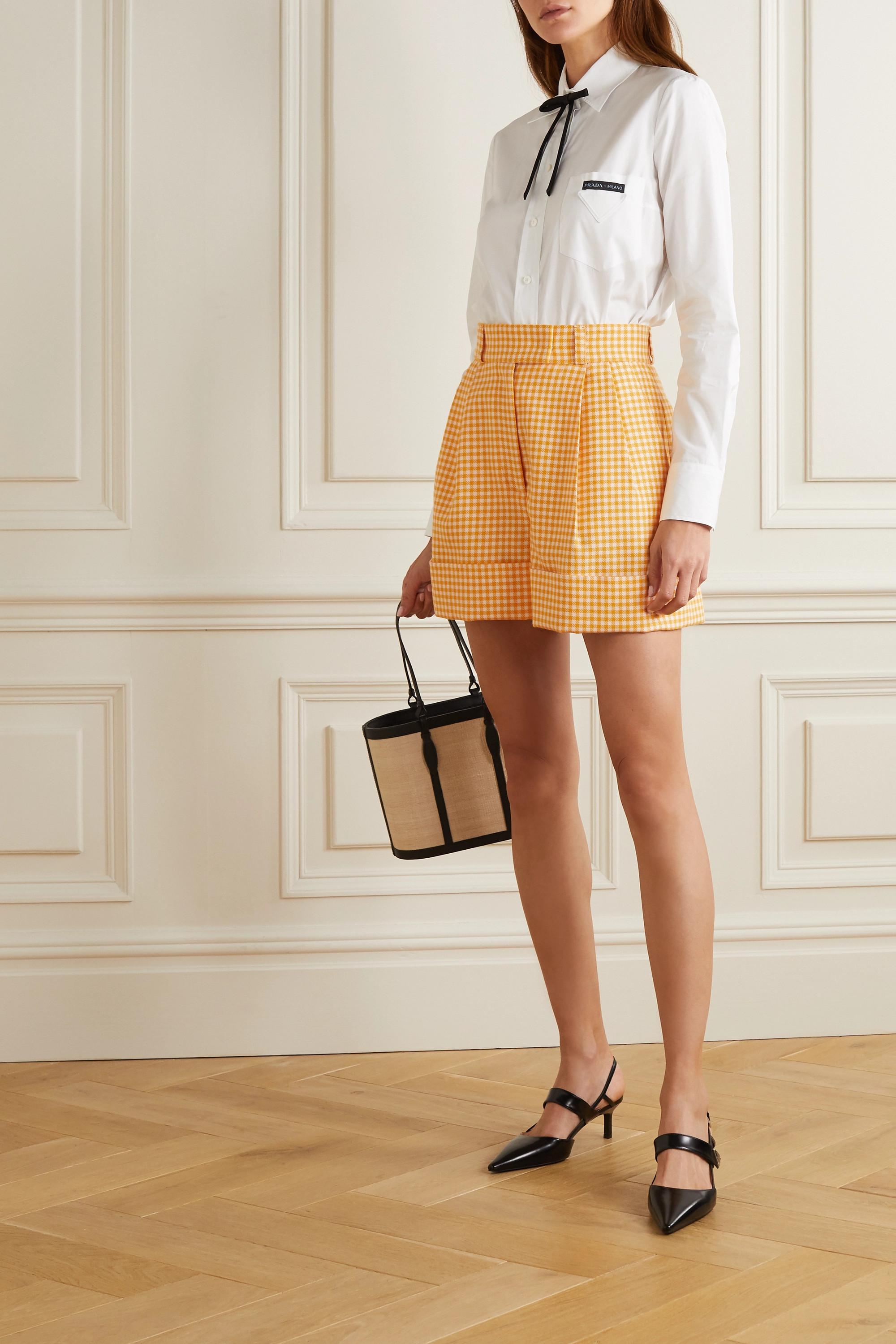 Miu Miu Shorts aus Wolle mit Gingham-Karo