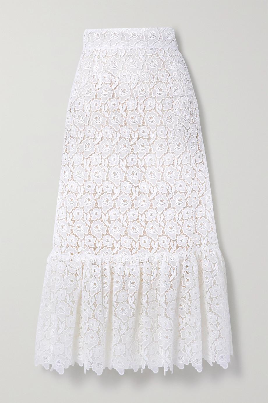 Miu Miu Ruffled cotton-blend guipure lace midi skirt