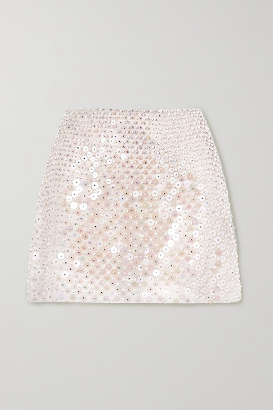 Miu Miu Minirock aus Seidenorganza mit Verzierungen
