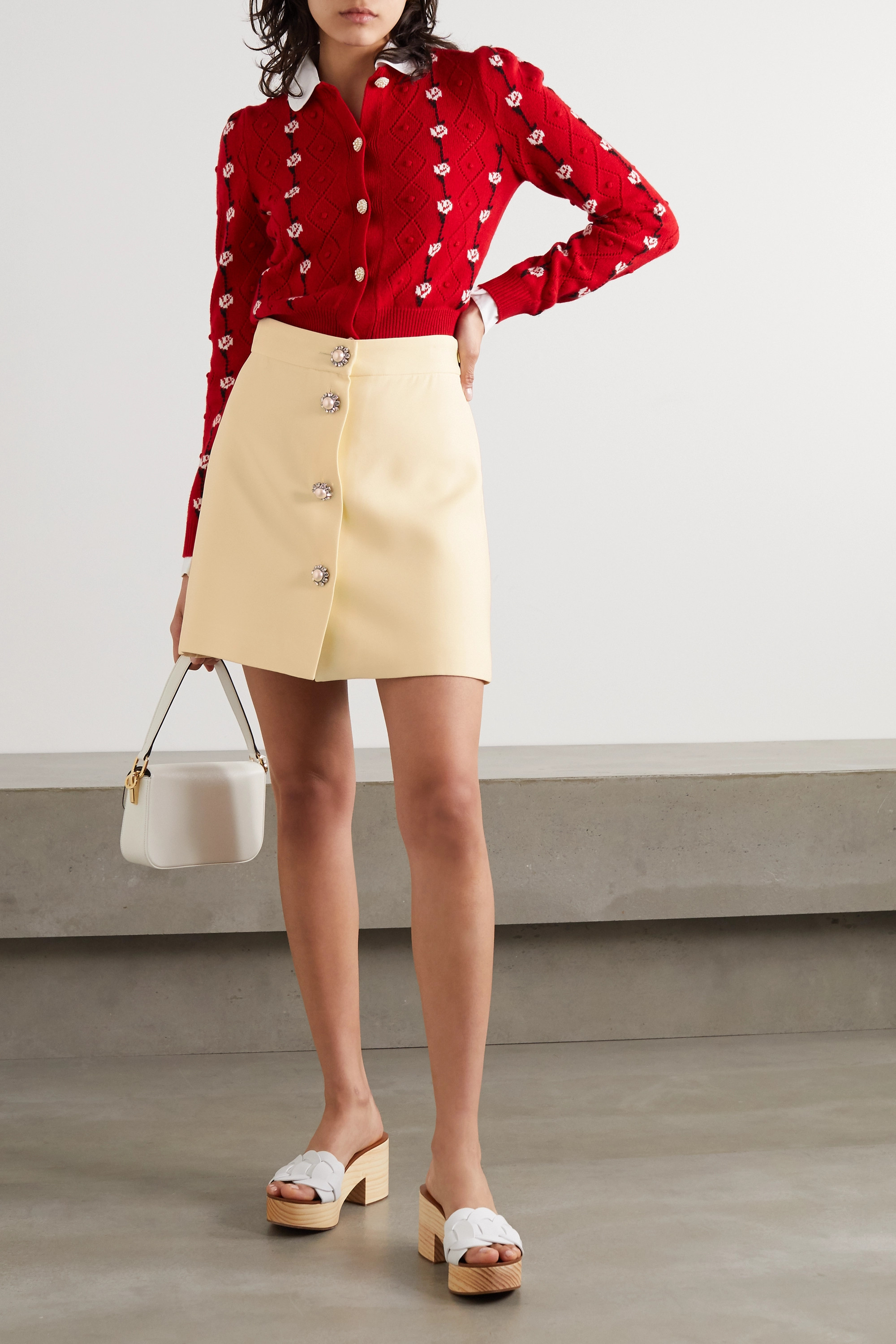 Miu Miu Button-embellished cady mini skirt
