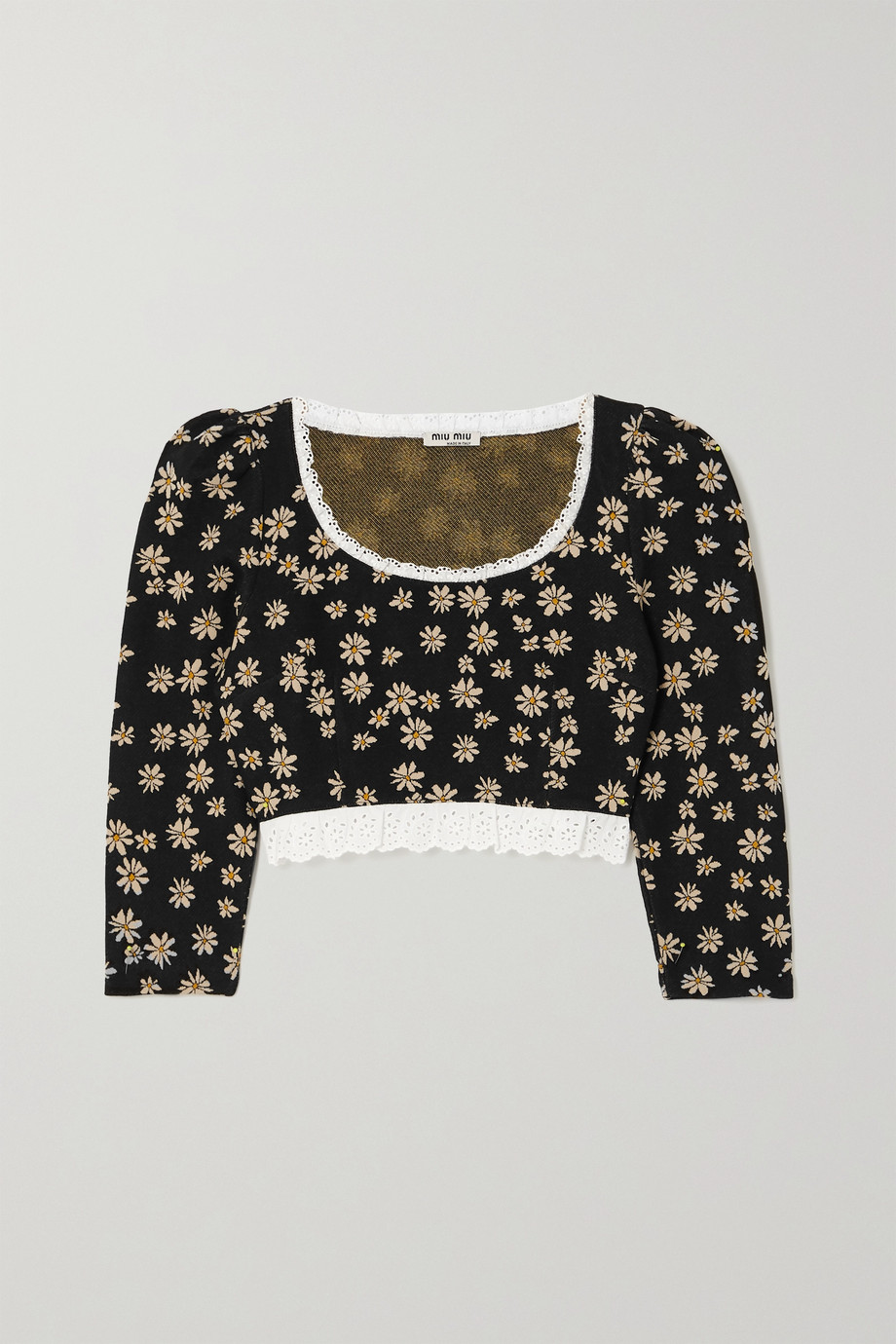 Miu Miu Cropped lace-trimmed floral jacquard-knit top