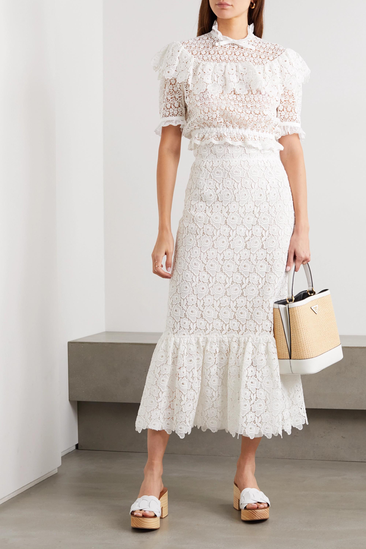 Miu Miu Cropped ruffled cotton-blend guipure lace top