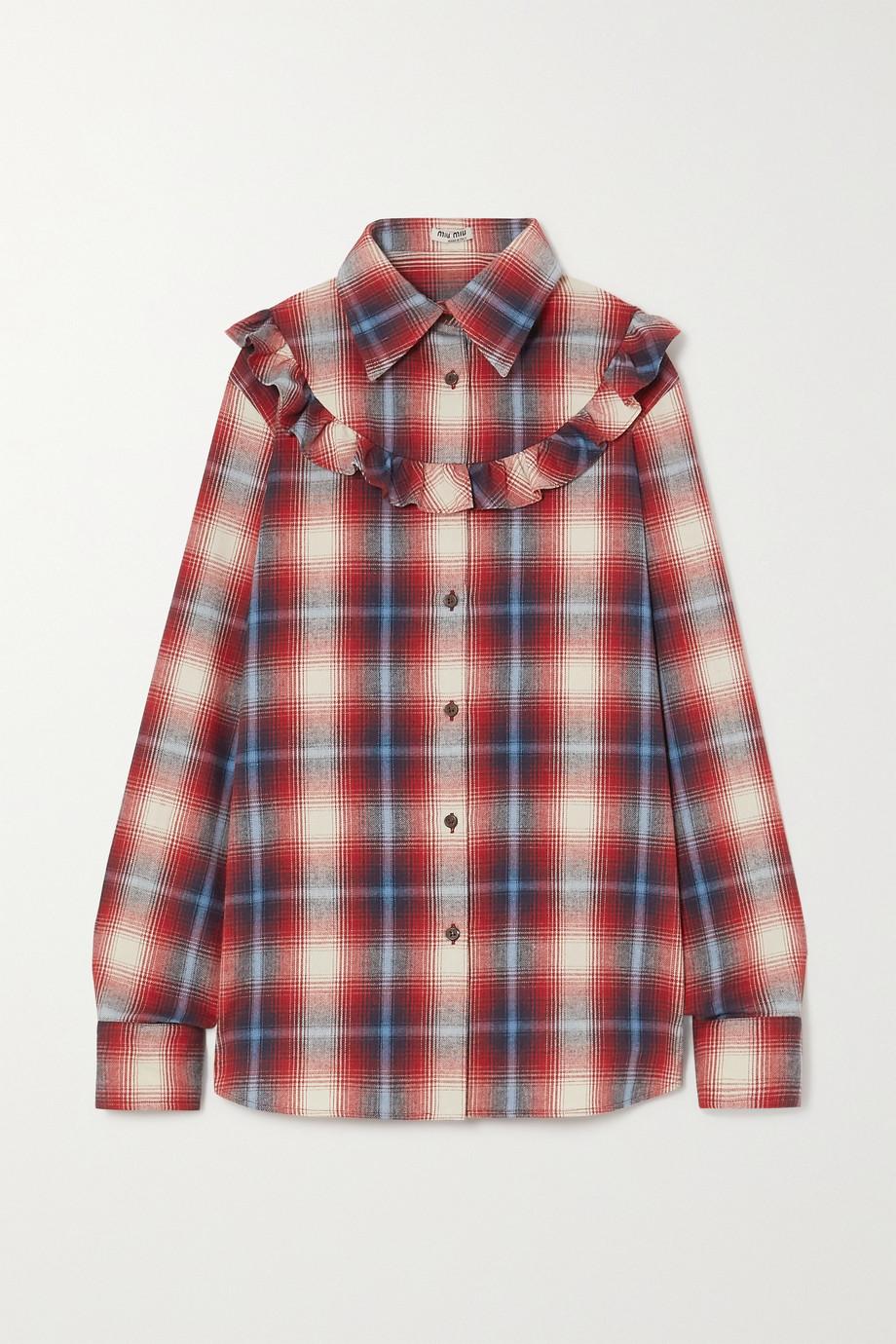 Miu Miu Ruffled checked cotton-flannel shirt