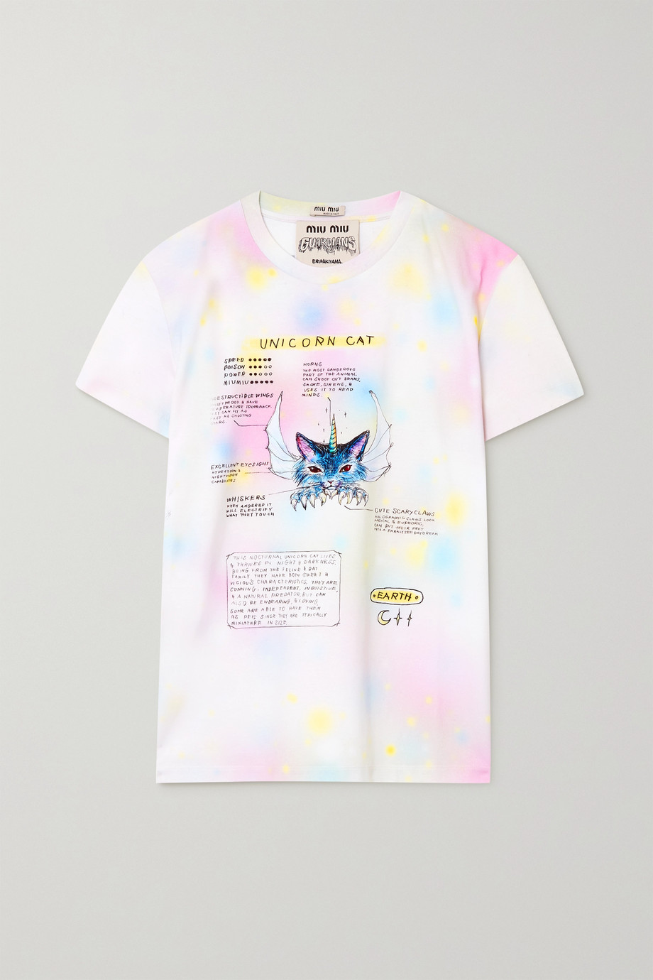 Miu Miu Guardians printed tie-dyed cotton-jersey T-shirt
