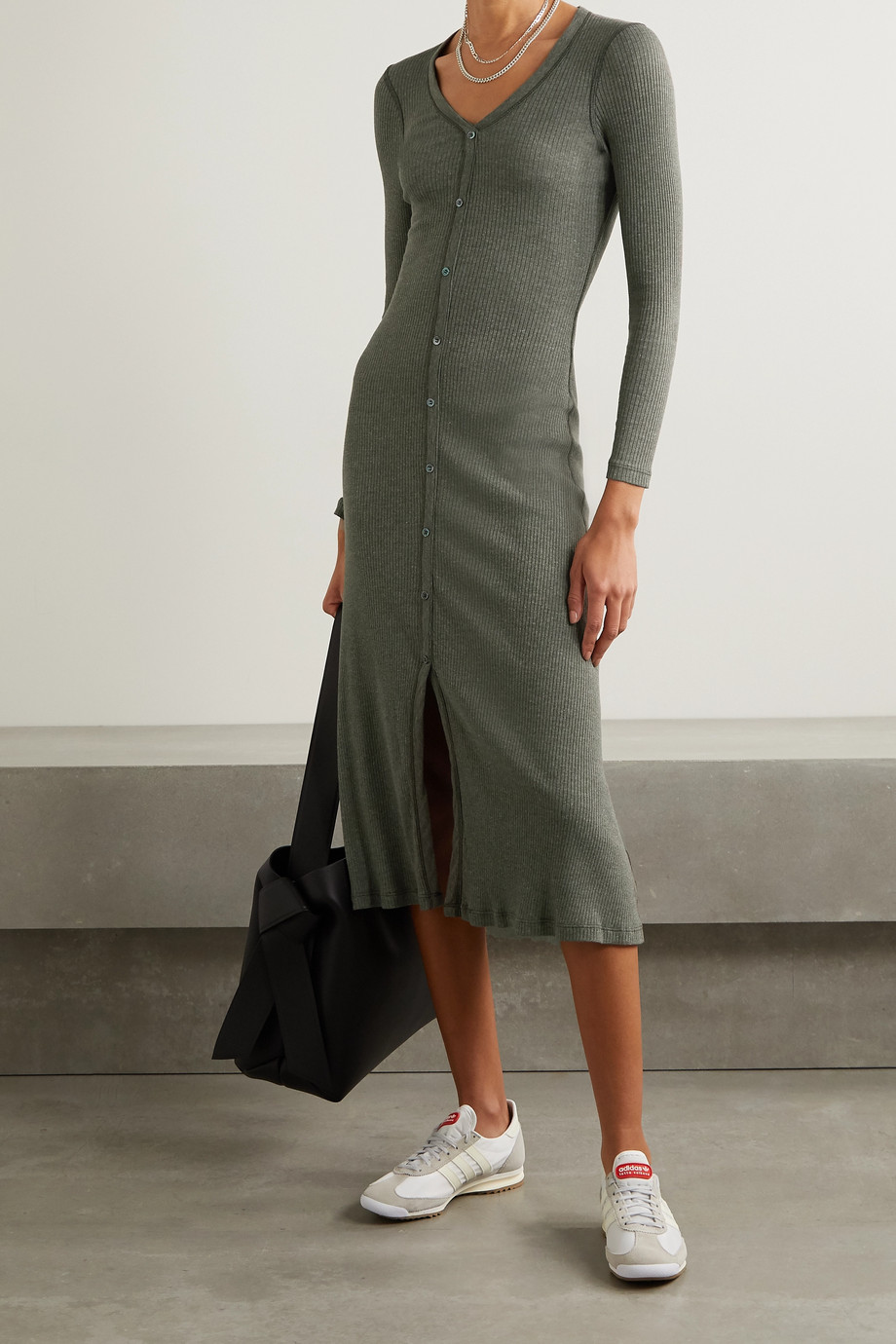 James Perse Ribbed cotton-blend midi dress