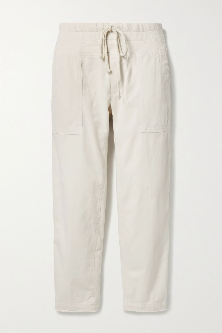 James Perse Cropped jersey-trimmed slub cotton-blend twill tapered pants