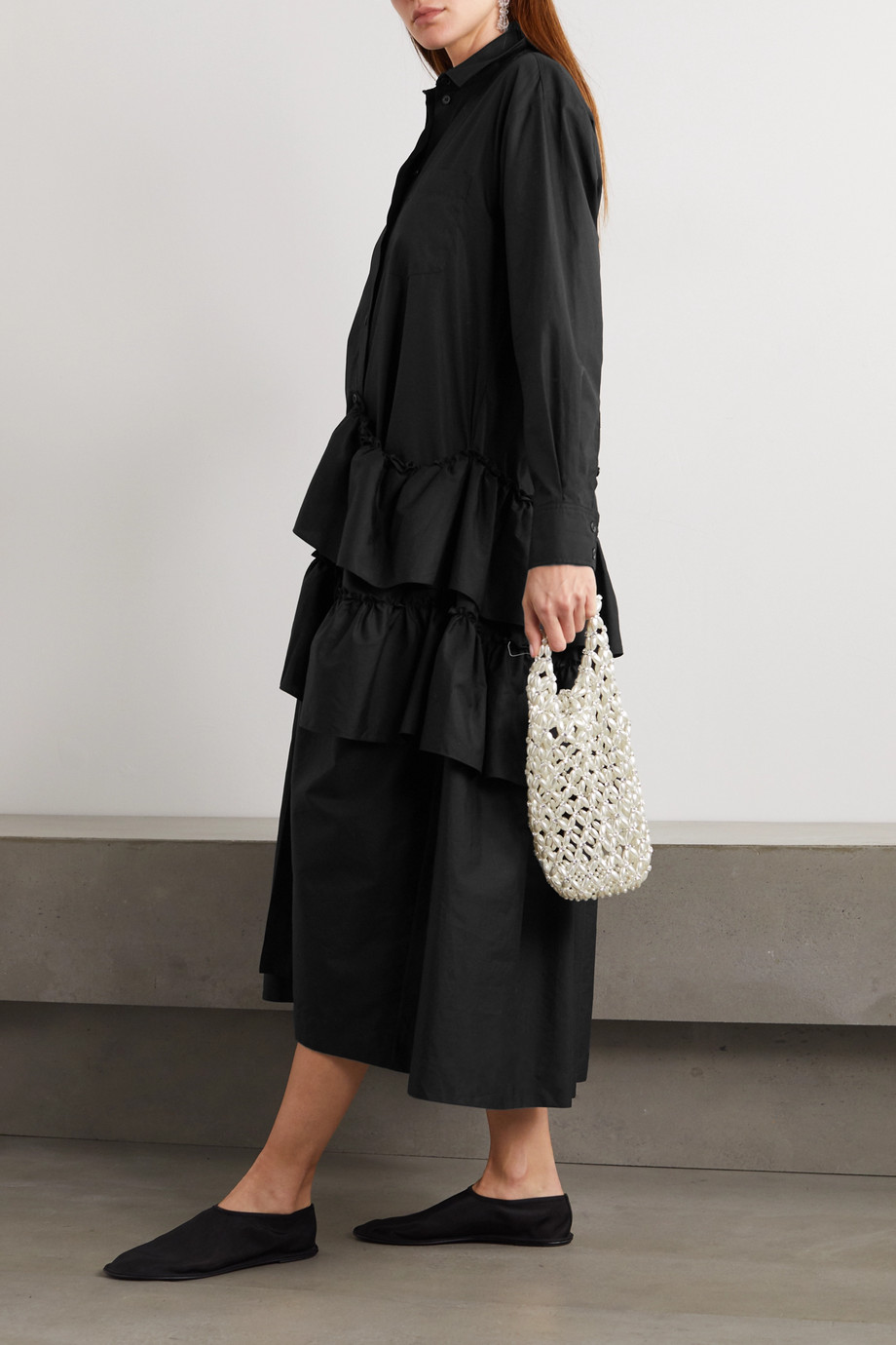 Simone Rocha Ruffled cotton-poplin shirt dress