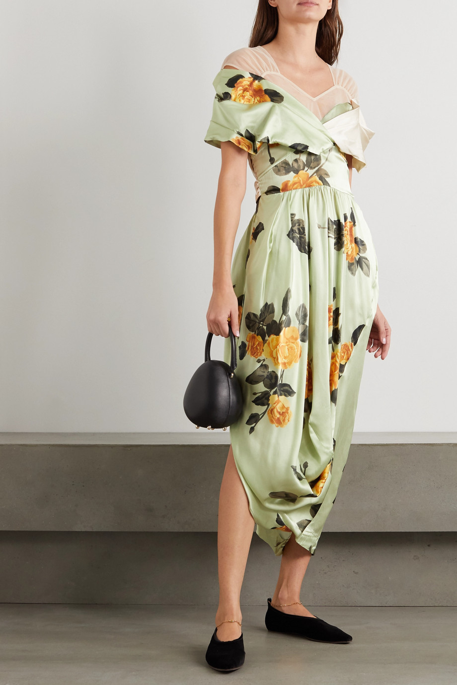 Simone Rocha Asymmetric bow-detailed floral-print silk-satin and tulle dress