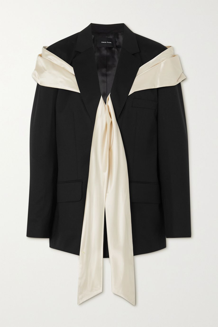 Simone Rocha Bow-detailed silk satin and wool-blend blazer
