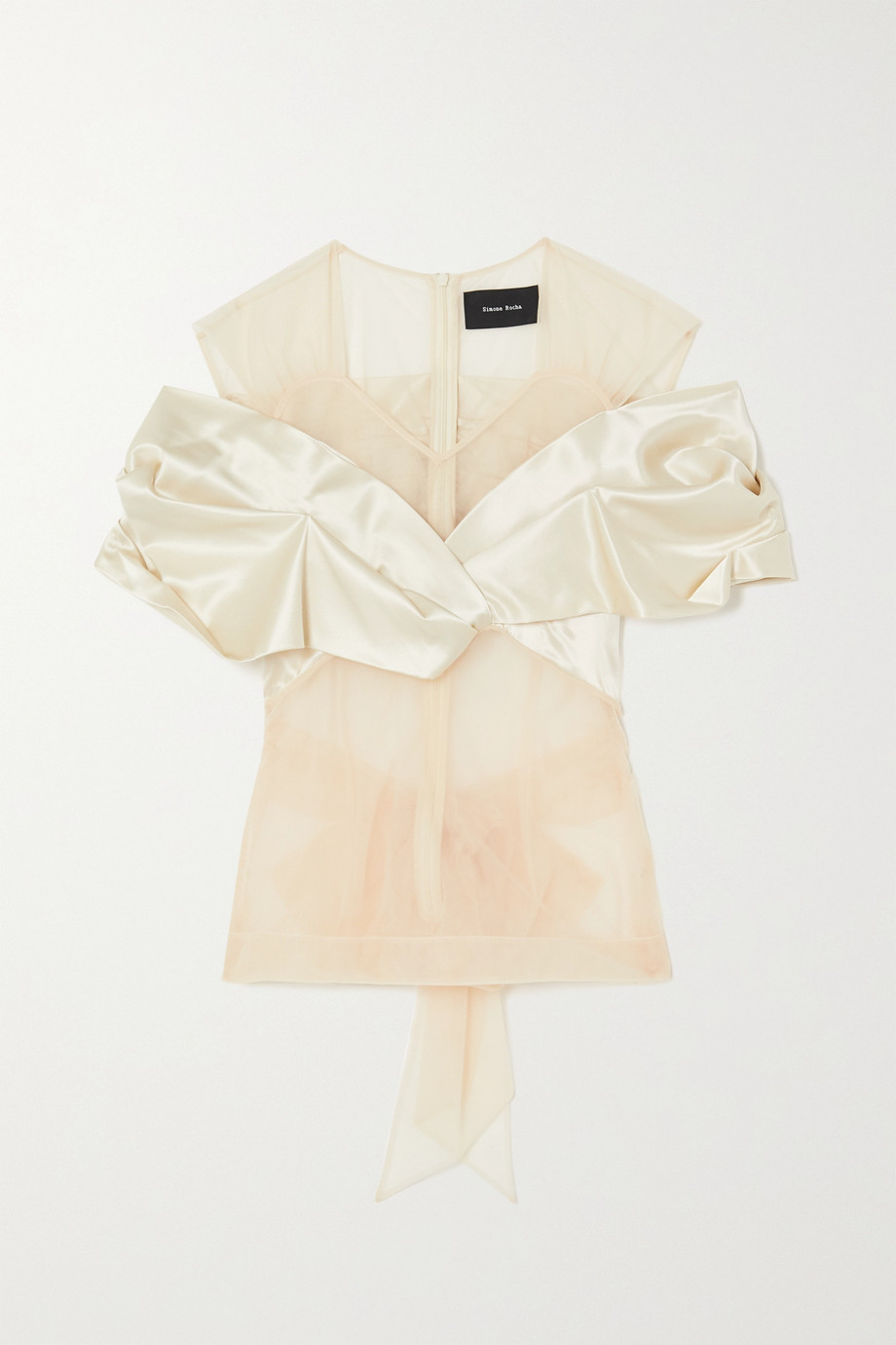 Simone Rocha Bow-detailed tulle and silk-satin top