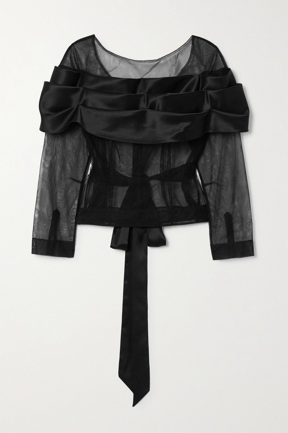 Simone Rocha Tie-detailed tulle and silk-satin top
