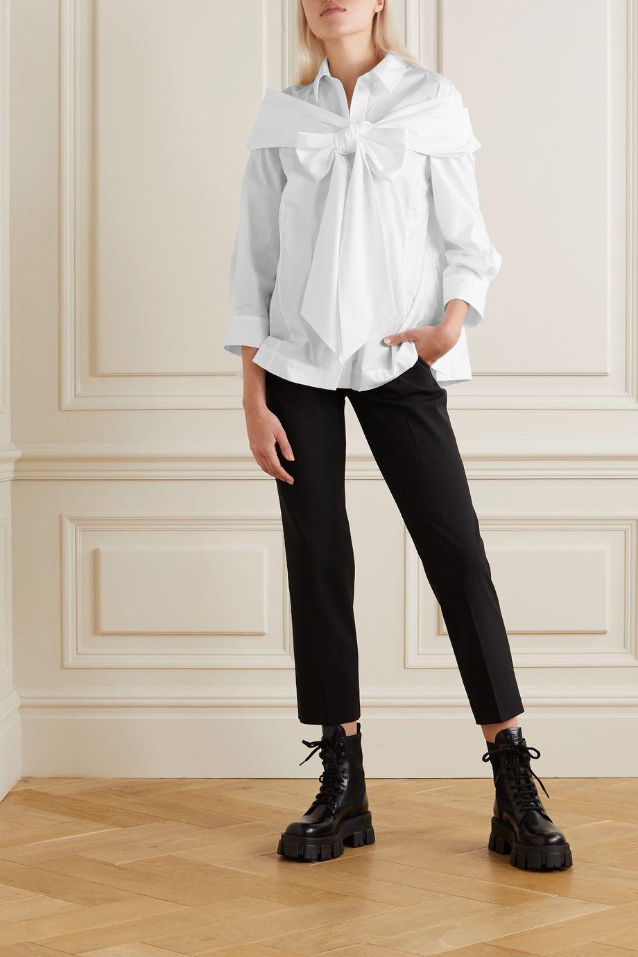 Simone Rocha Bow-embellished cotton-poplin shirt