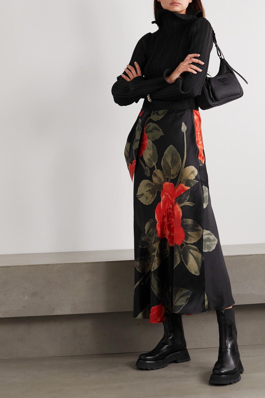 Simone Rocha Midirock aus Seidensatin mit Blumenprint und Drapierung