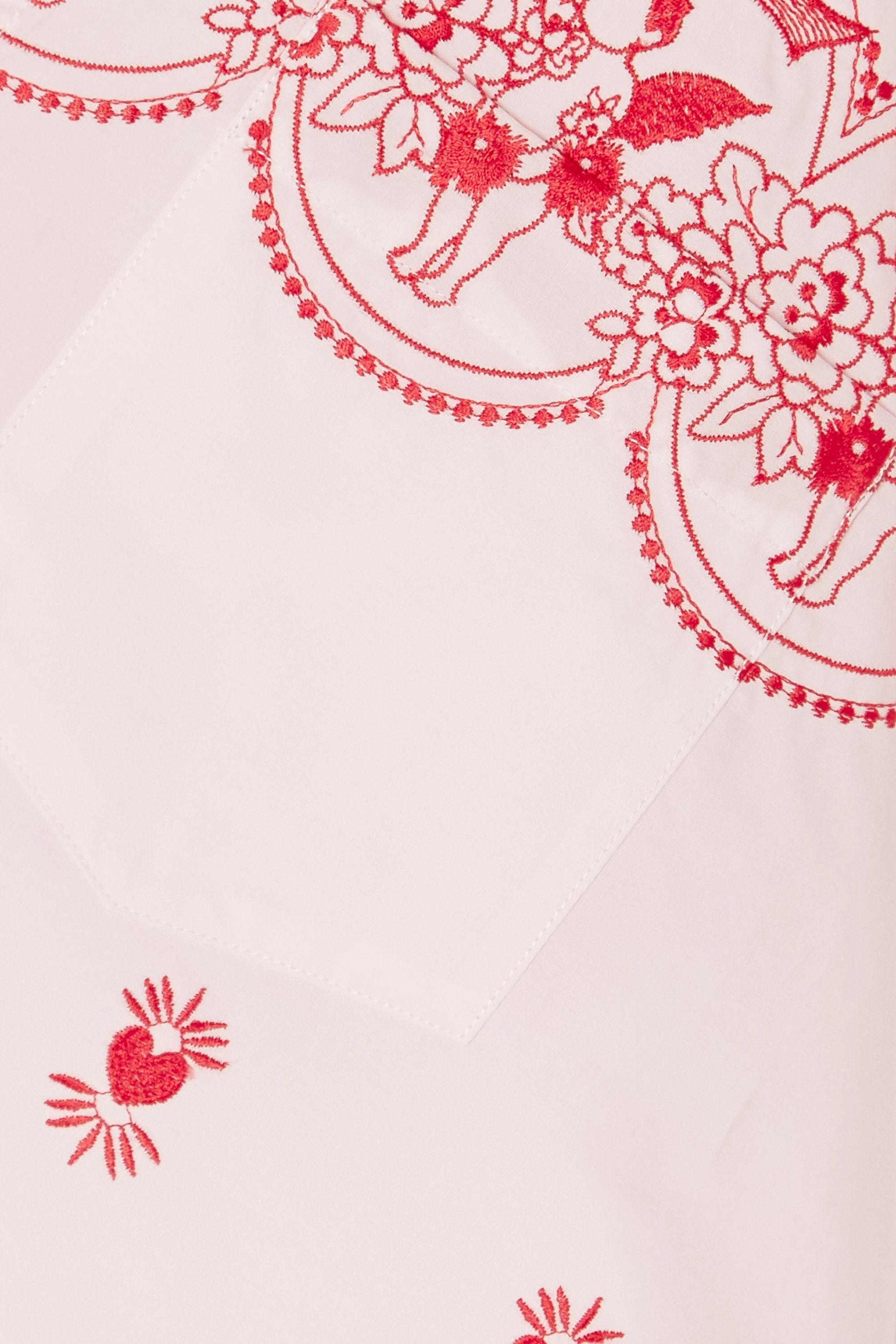 Rose Chemise Oversize En Popeline De Coton À Broderies | Simone Rocha